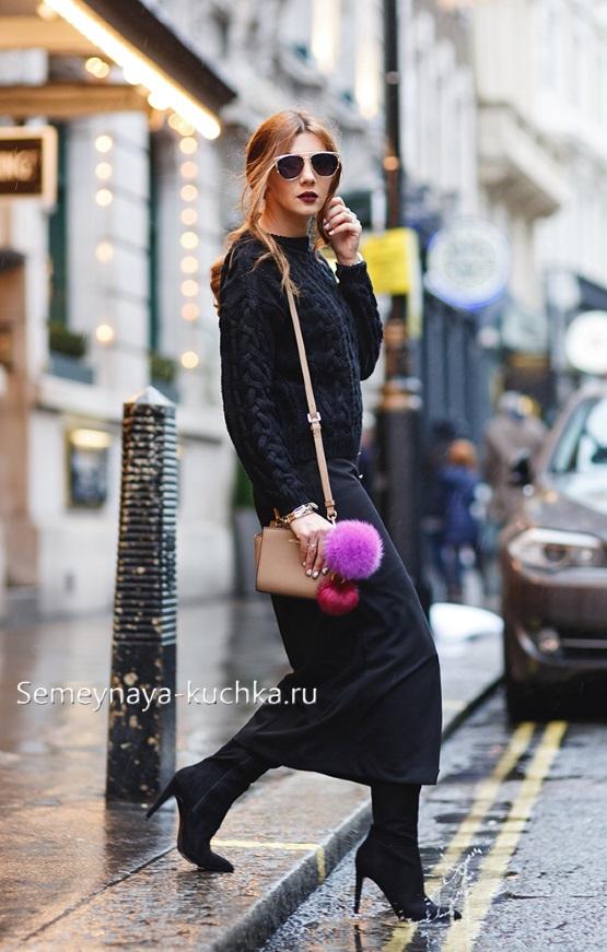 юбка карандаш миди как носить осень зима