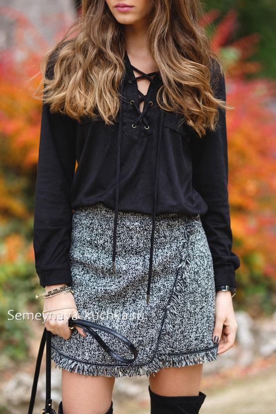теплая юбка с чем носить осень зима