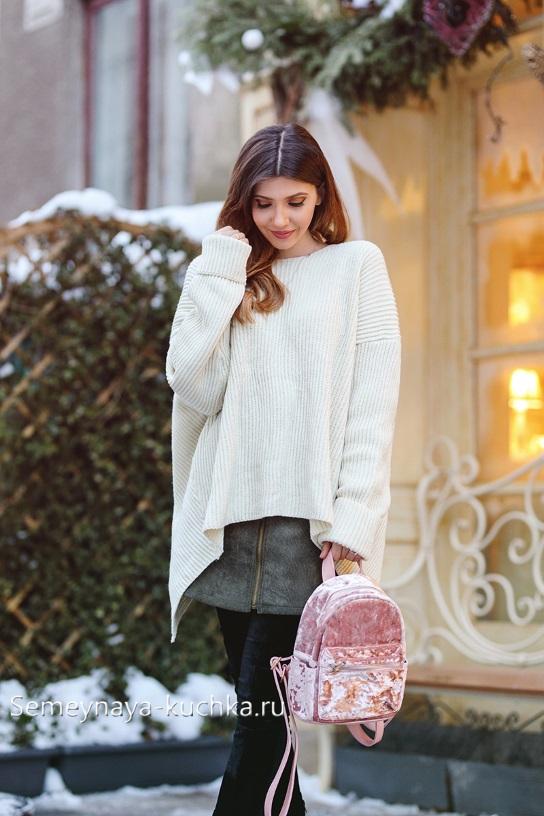 короткая кожаная юбка осень зима под свитер