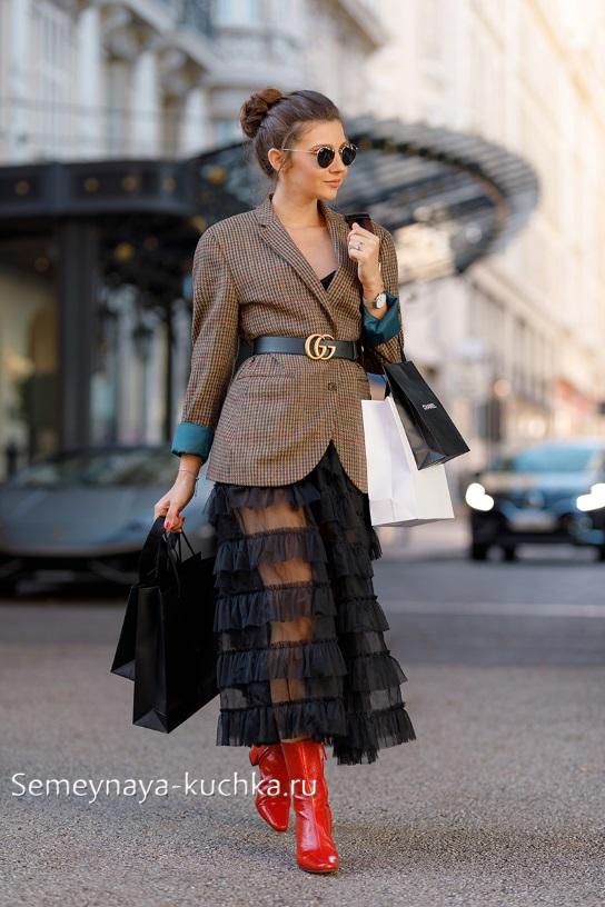 осенняя юбка под пиджак как носить осенью