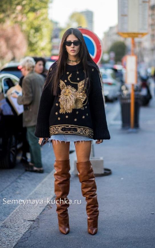 короткая юбка джинсовая как носить осенью