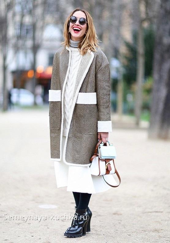 теплая белая юбка как носить осенью зимой