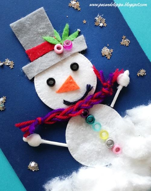 аппликация снеговик в детском саду