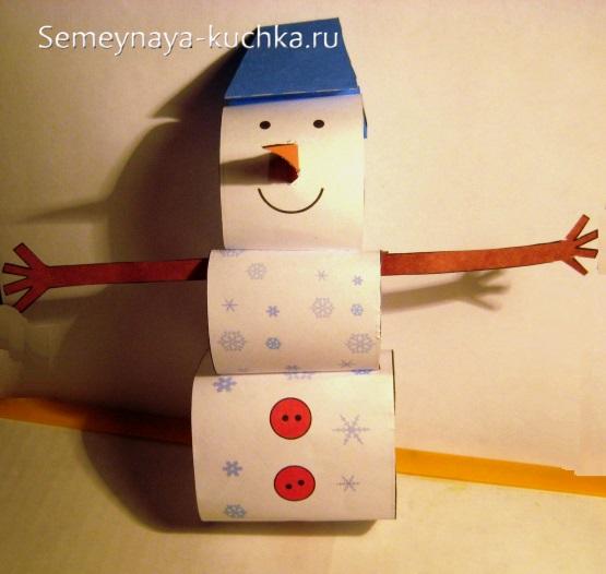 аппликация объемная снеговик для школы
