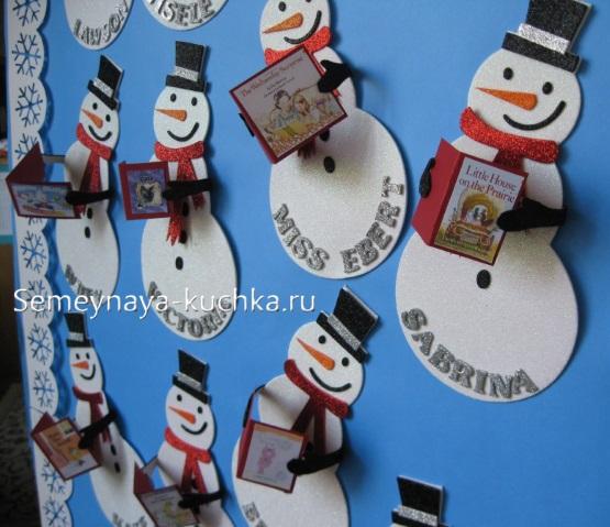 аппликация снеговик объемная