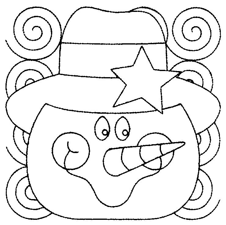 шаблон снеговик для аппликации или вышивки