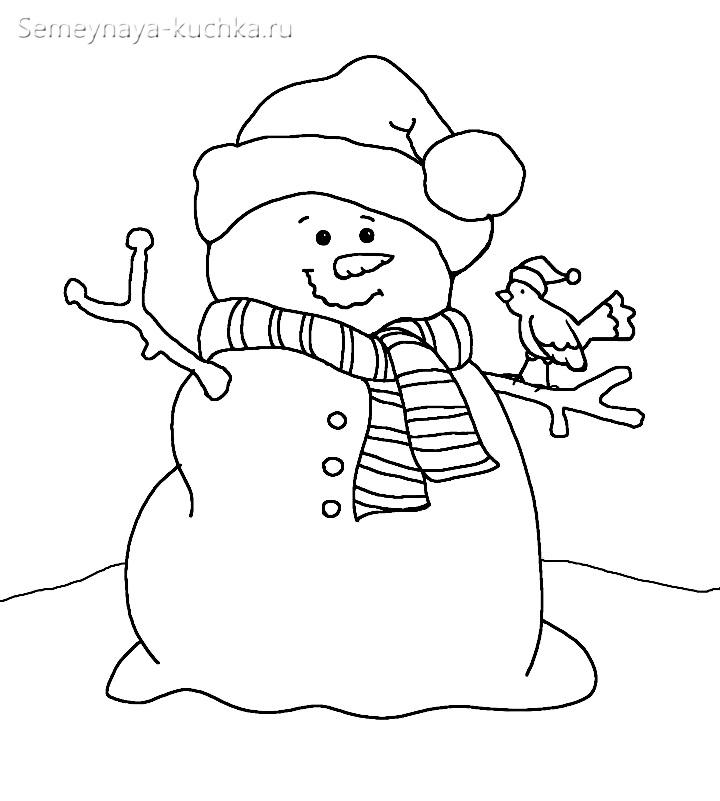 аппликация снеговик из ваты