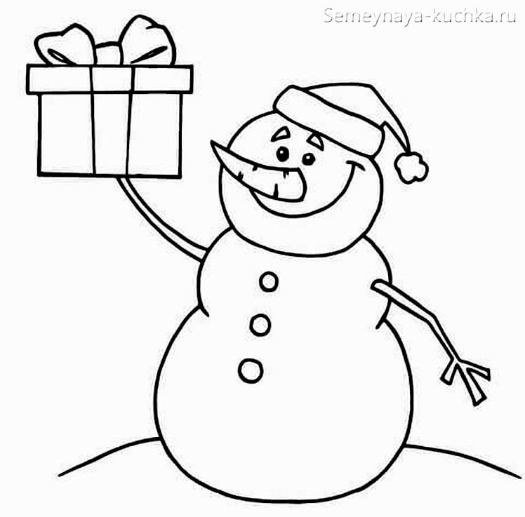 шаблон снеговик из ваты и бумаги