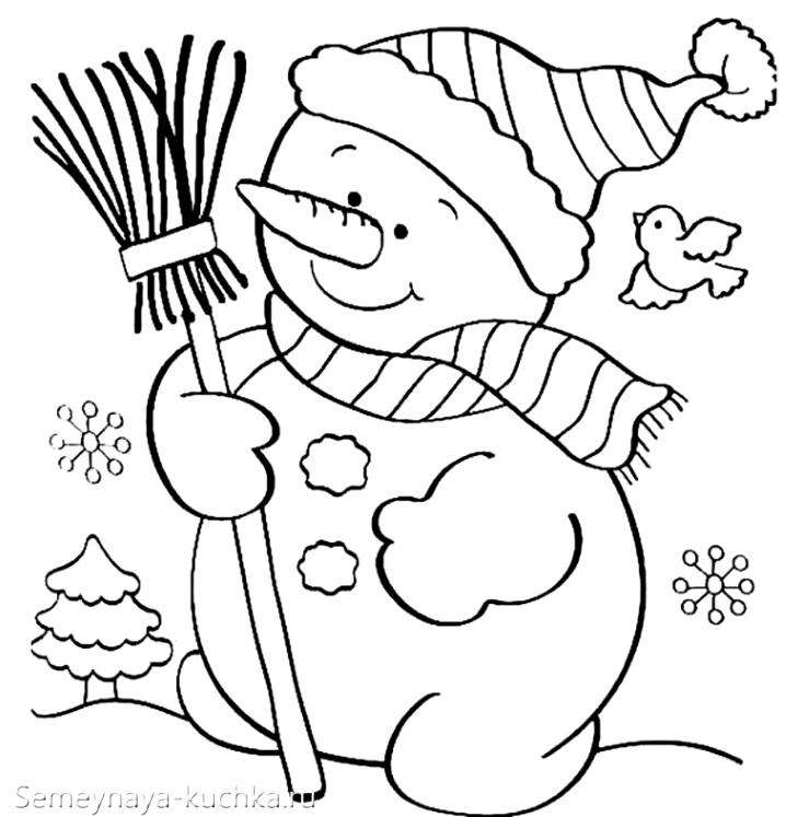 шаблон аппликация снеговик из бумаги