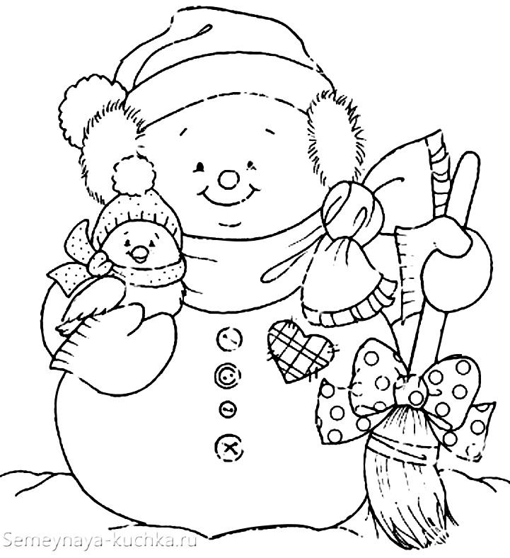 шаблон аппликация снеговик из цветной бумаги