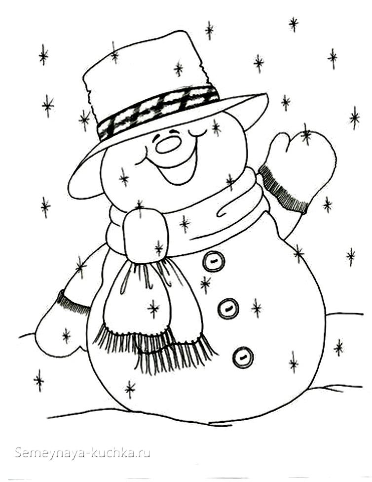 шаблон аппликация снеговик