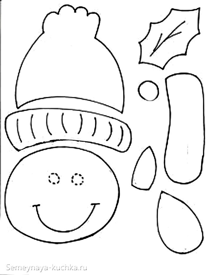 шаблон детская аппликация снеговик