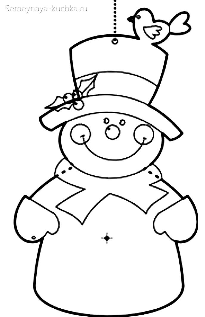снеговик аппликация из ваты