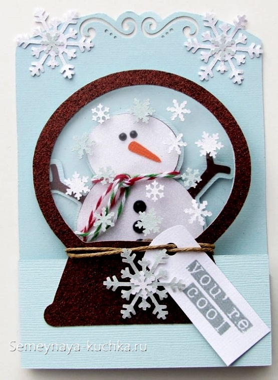 аппликация из картона снеговик
