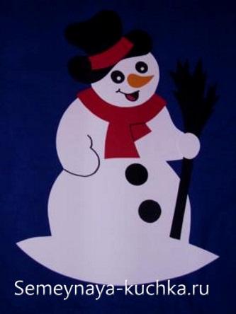 снеговик аппликация из бумаги