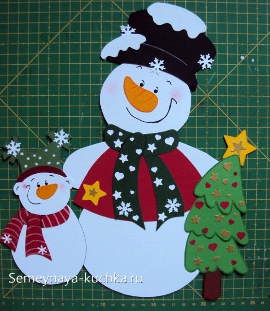 снеговик с елкой аппликация из бумаги