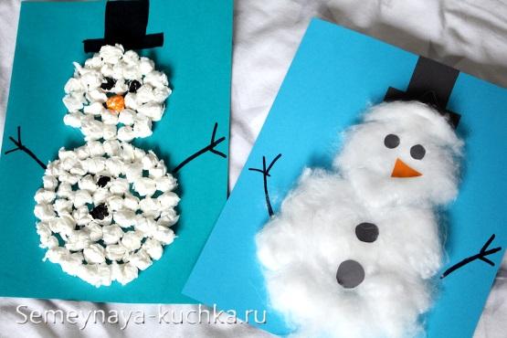 снеговик из ваты аппликация
