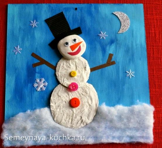 снеговик аппликация с пластилином