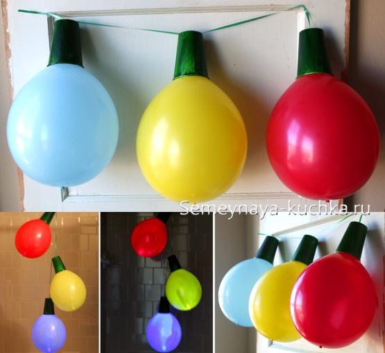 поделка на новый год из воздушных шаров