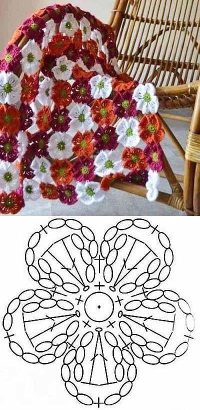 схема цветок крючком на пинетках