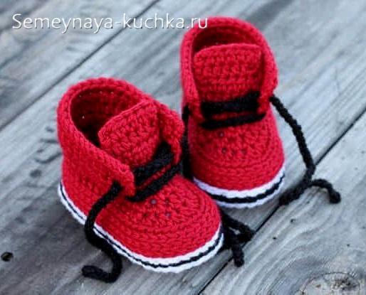 пинетки ботинки крючком