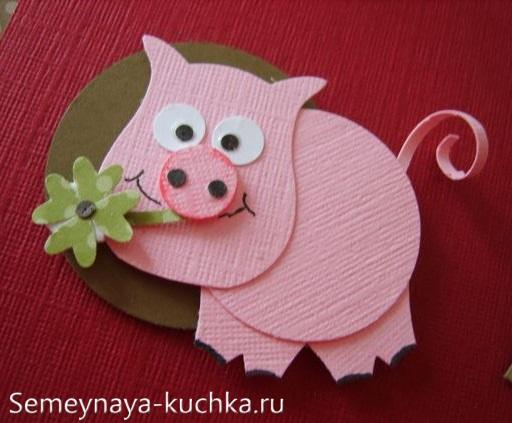 поделка свинья из бумаги