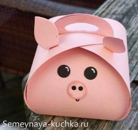 поделка коробочка свинья из бумаги