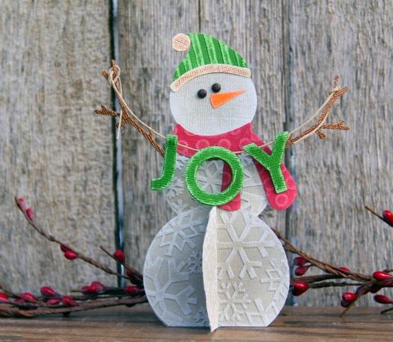 поделка объемная снеговик из картона