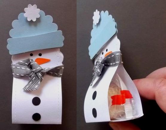 поделка из бумаги снеговик с конфетой