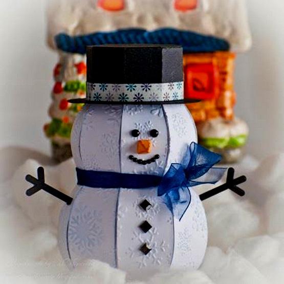 поделка объемная снеговик из бумаги