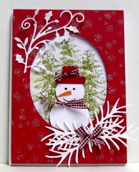 поделка снеговик аппликация новогодняя на открытку