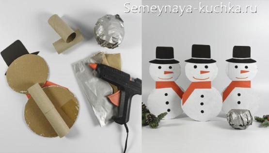 поделка снеговик из рулончика