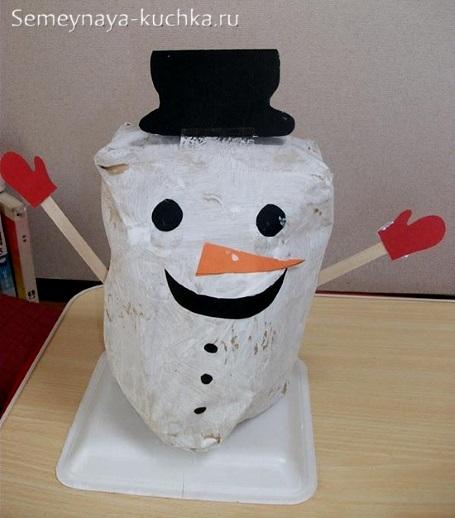 поделка снеговик объемный из бумаги