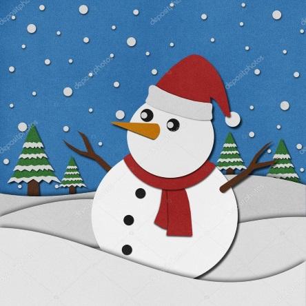 аппликация снеговики из бумаги