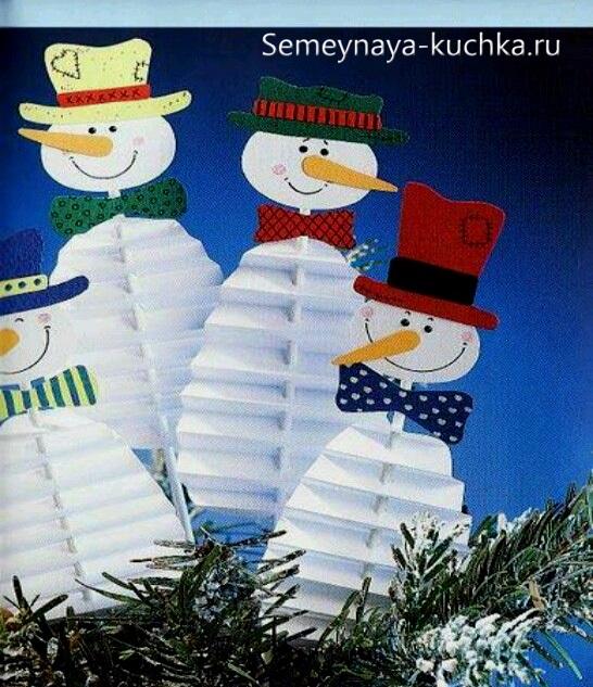 поделка снеговик из бумаги гармошкой