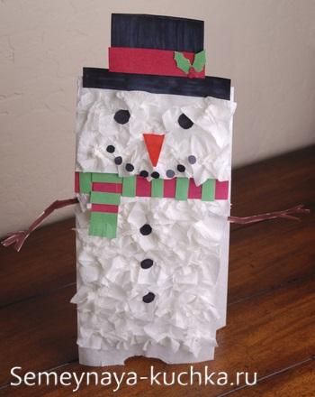 рельефная поделка снеговик из бумаги
