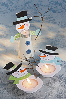 поделка снеговики подсвечники из бумаги