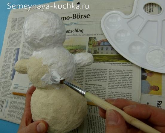 поделка снеговик из бумажного теста