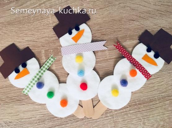 простая детская поделка снеговик для младшей группы