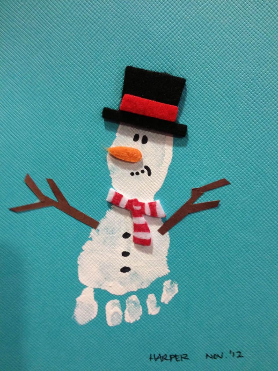 снеговик поделка из красок отпечаток