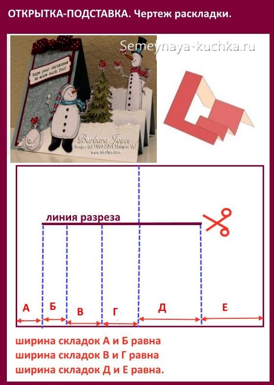 схема открытки со снеговиком