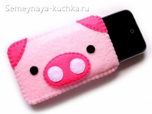 поделка чехол свинка для телефона