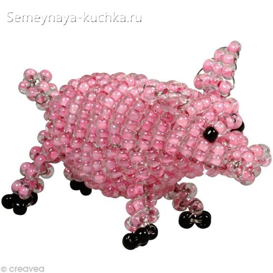 свинка из бисера на проволоке
