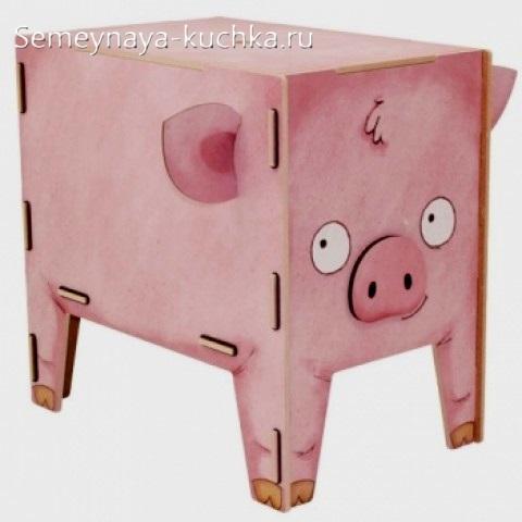 свинка из дерева ящик коробочка