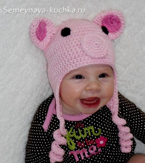 шапка крючком свинка с пятачком