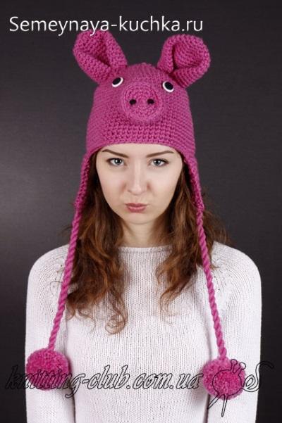 шапка крючком свинья