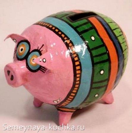 поделка свинья папье маше
