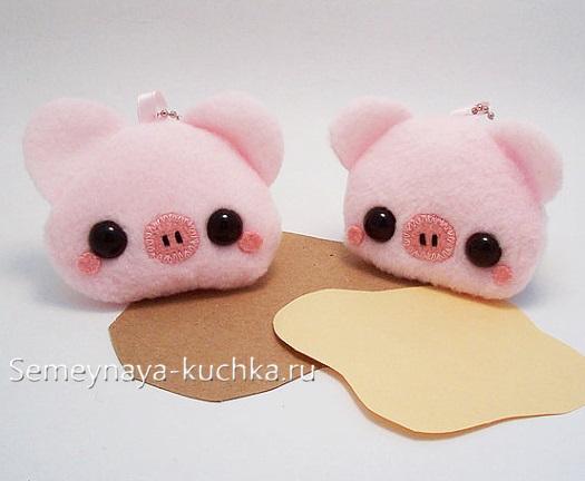 поделка свинка брелок няшный