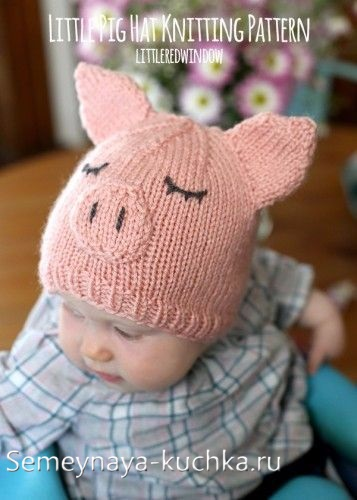 как связать шапку со свинкой