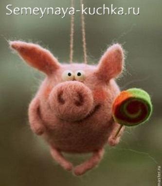 свинка из войлока